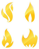 Glossy icons of fire — Stock Vector