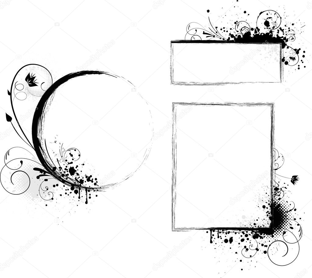Grunge round and rectangle frames with florals elements — Stock Vector #5342878