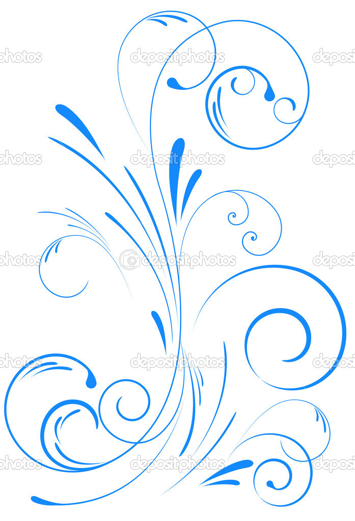Blue floral swirl ornament — Stock Vector #5342892