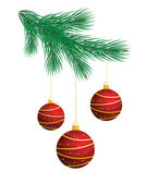 Christmas tree with red balls — Stock Vector