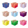 Set of nine gift boxes - Stock Vector