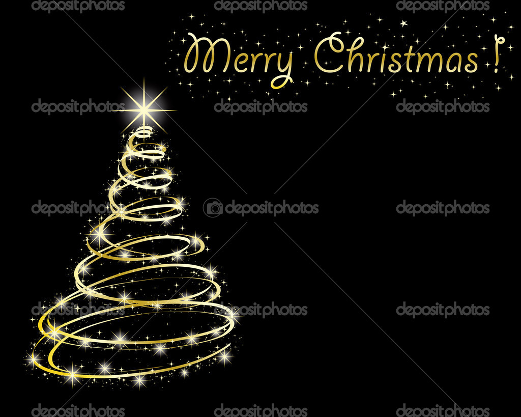 Abstract golden christmas tree on black background.  — Stock Vector #4191238