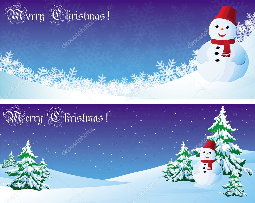 Vector christmas postcard with snowman and needles  Stock Vector #4191323