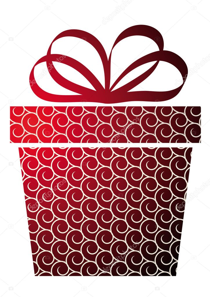 Christmas illustration with gift box on red  — Stock Vector #4191704