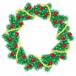 Stock Vector: Christmas pine garland