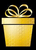 Kerstmis illustratie met de doos van de gift op goud — Stockvector