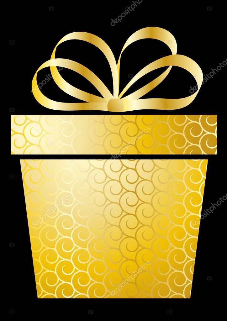 Christmas illustration with gift box on gold — Stock Vector #4262106