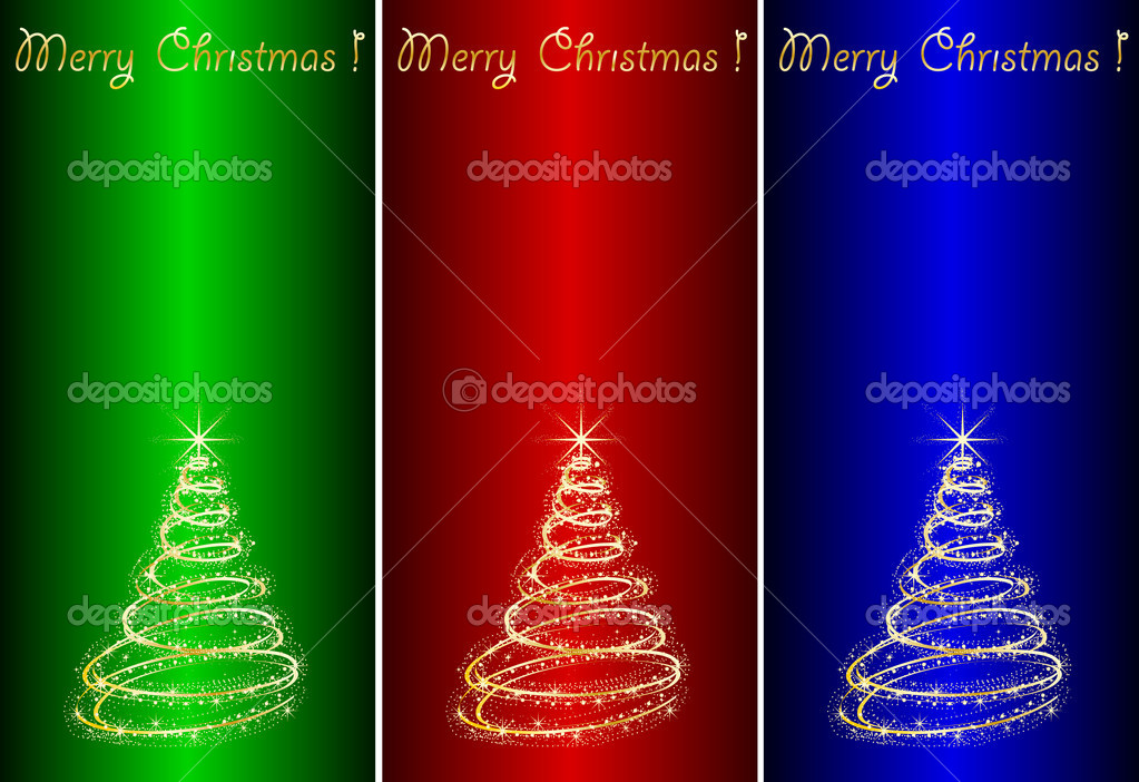 Abstract golden christmas tree on color  background. — ベクター素材ストック #4262131