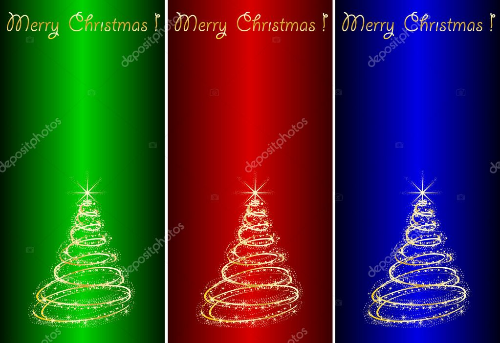 Abstract golden christmas tree on color  background.  Stockvectorbeeld #4262131