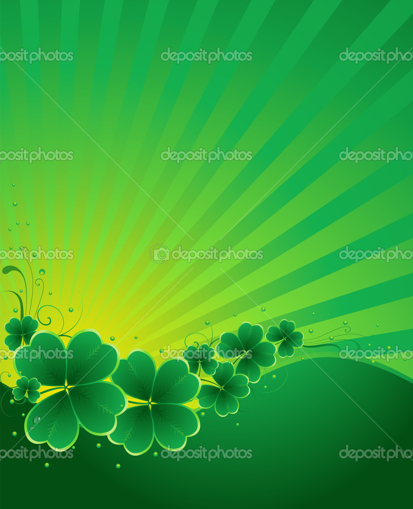 Clover background for the St. Patrick's Day  Stock Vector #4874261