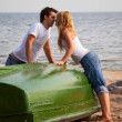 Stock Photo: Beautiful couple kissing on beach