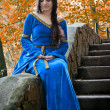 Elf princess on stone staircase — Stock Photo