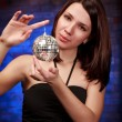 Girl with decoration ball — Stock Photo