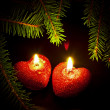Christmas card with two candles - Stok fotoğraf