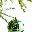 Decoration ball on fir branch — ストック写真