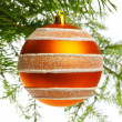 Decoration ball on fir branch — Stockfoto