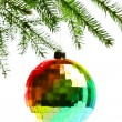 Decoration ball on fir branch — Stock Photo #4666538