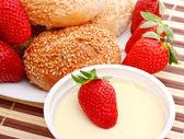 Breakfast with strawberry — Stock Photo
