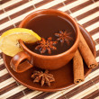 Tea with cinnamon sticks and star anise — Stock Photo