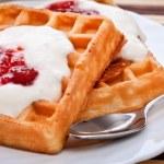 Dessert with soft waffle — Stock Photo #4811367
