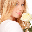 Stock Photo: Beautiful Young Woman With White Rose
