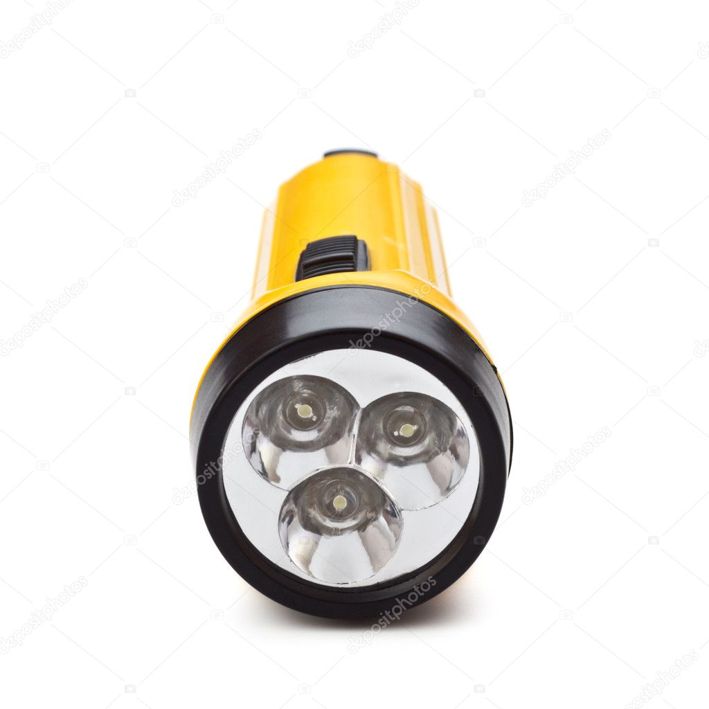 Electric pocket flashlight isolated on white background — Stock Photo #4878749