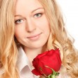 Stock Photo: beautiful young woman with red rose