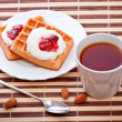 Dessert with soft waffle — Stock Photo