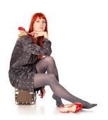 Travel Woman Waiting — Stockfoto