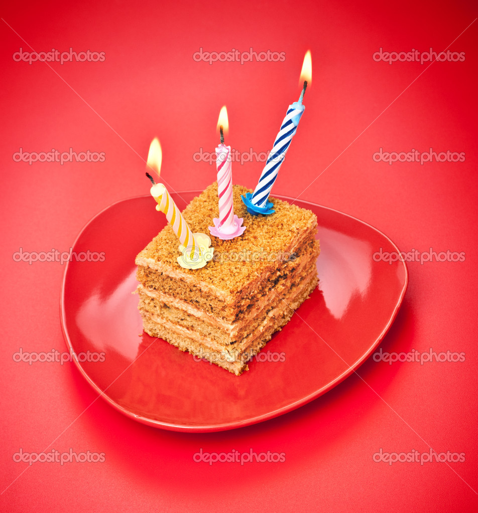 Birthday cake with candle on pink background — Stock Photo #5344951