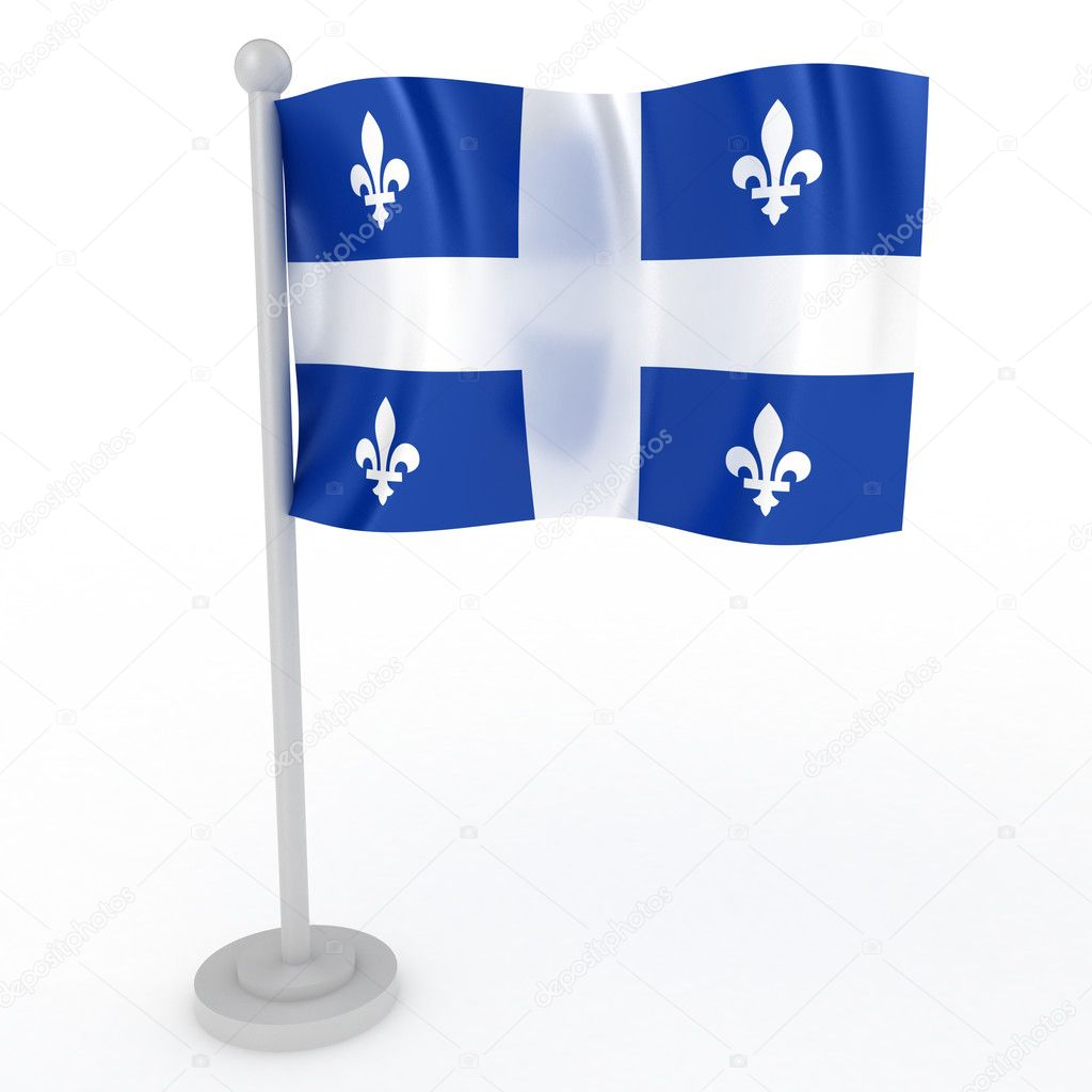 Illustration of a flag of Quebec on a white background  Stock Photo #4697494