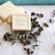 Vegetal base soap for bath with herbs — Stock Photo