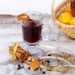 Mulled red wine on snowy table outdoor in winter — Stock Photo #4867563