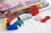 Colorful stuff for sewing at home — Stock Photo