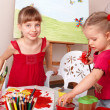 Children painting in art class. — Stock Photo