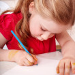 Child with brush draw picture in play room. — Stock Photo