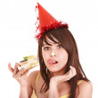 Happy young woman eating cake. — Stock Photo