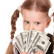 Sad child with money dollar. — Stock Photo #3933046