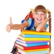 Schoolgirl with pile of books and showing thumb up. — Stock Photo