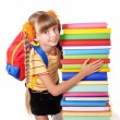 Schoolgirl with backpack holding pile of books. — Stock Photo #3933064