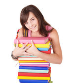 Girl with pile colored book . — 图库照片