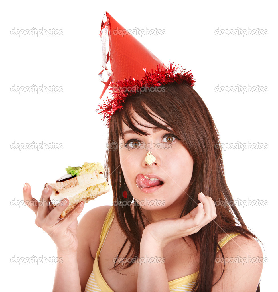 Happy young woman eating cake. Isolated. — Stock Photo #3932998