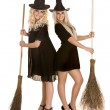 Two Halloween witch in black dress and hat on broom. — Stock Photo
