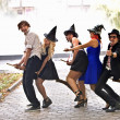 Group of on broom and halloween witch costume. — Stock Photo #3955356