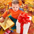 Child in autumn orange leaves and gift box. — Stock Photo #3955396