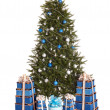 Christmas tree with silver ,blue ball,  gift box group. — Стоковая фотография