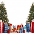 Two christmas tree blue and silver, group gift box. — Stock Photo