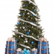 Christmas tree with silver ,blue ball, gift box group. — Stock Photo #3955444