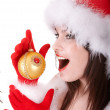 Face of christmas girl in santa hat. — Stock Photo #3955455