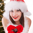 Christmas girl in santa hat with fir tree. — Stock Photo #3955457